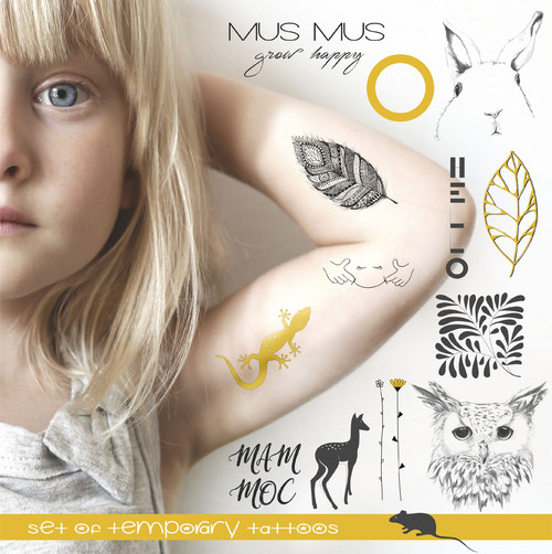 YELLOW TEMPORARY TATTOO SET