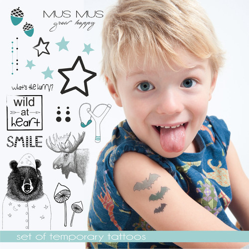 TURQUOISE TEMPORARY TATTOO SET